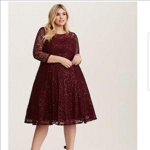 Merlot Lace Sequin Skater Dress